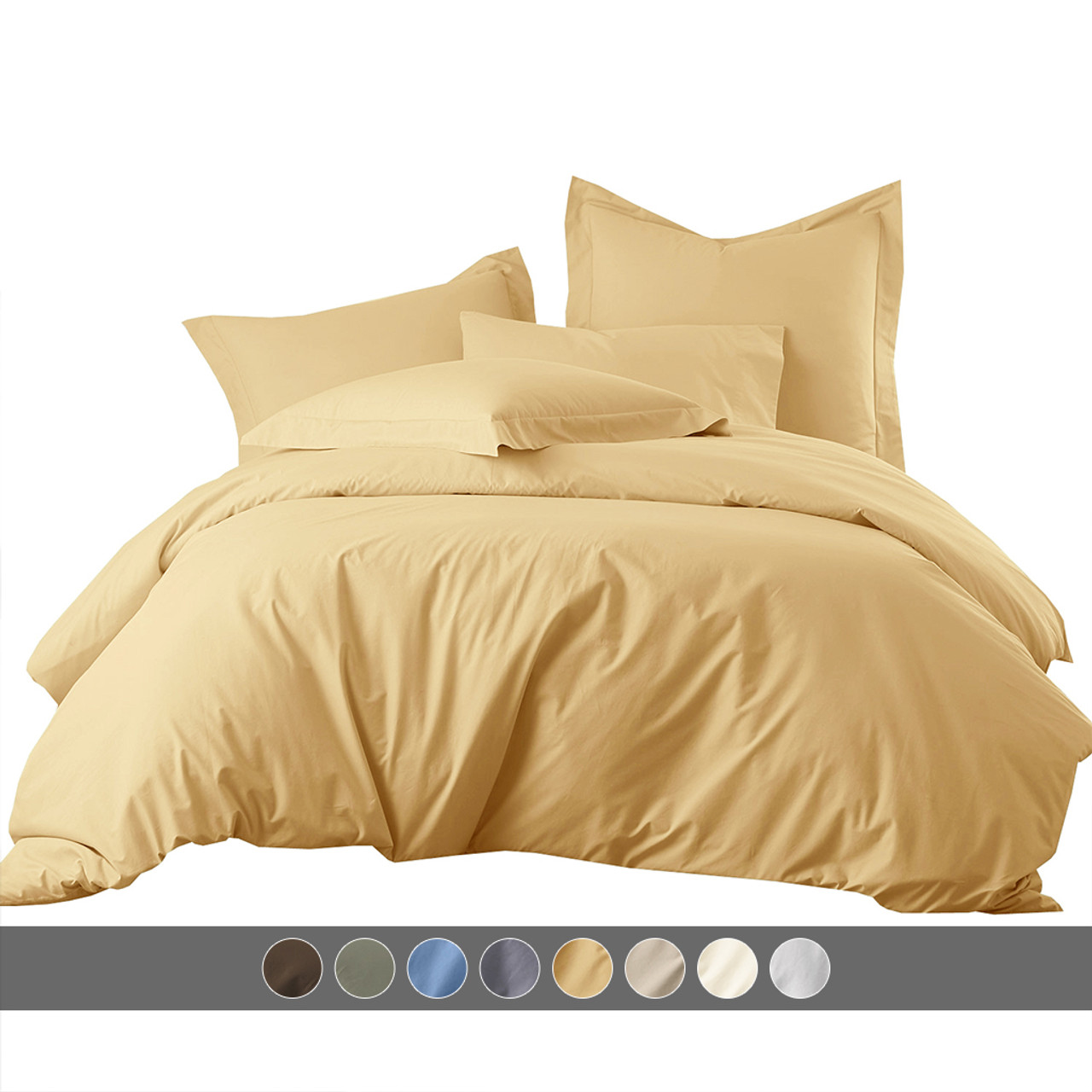 Wrinkle-Free Duvet Cover Set 650 Thread Count Cotton Blend Duvet Covers Shams