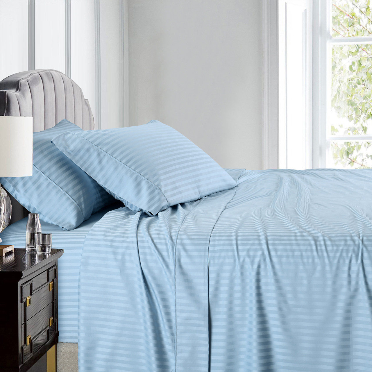 8e33a797b8 ... Blue-Pure Cotton 600 Thread Count Sheets Damask Striped Bed Sheet Set  ...