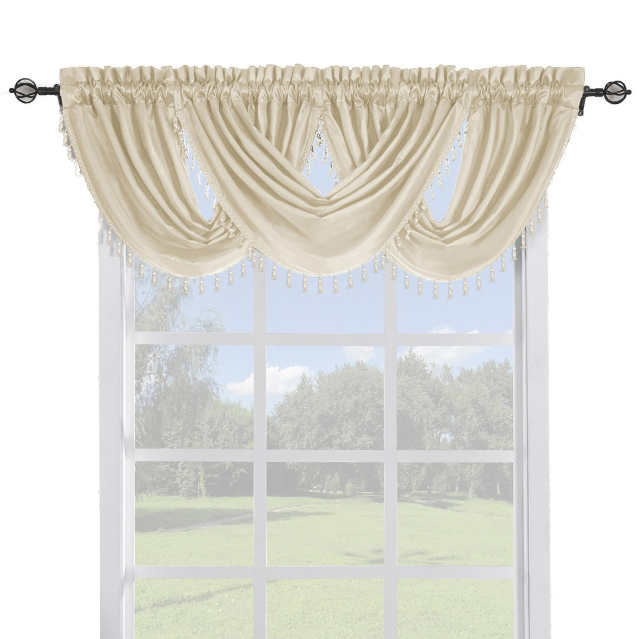 Soho Faux Silk Curtain Panels Or Waterfall Valance Single