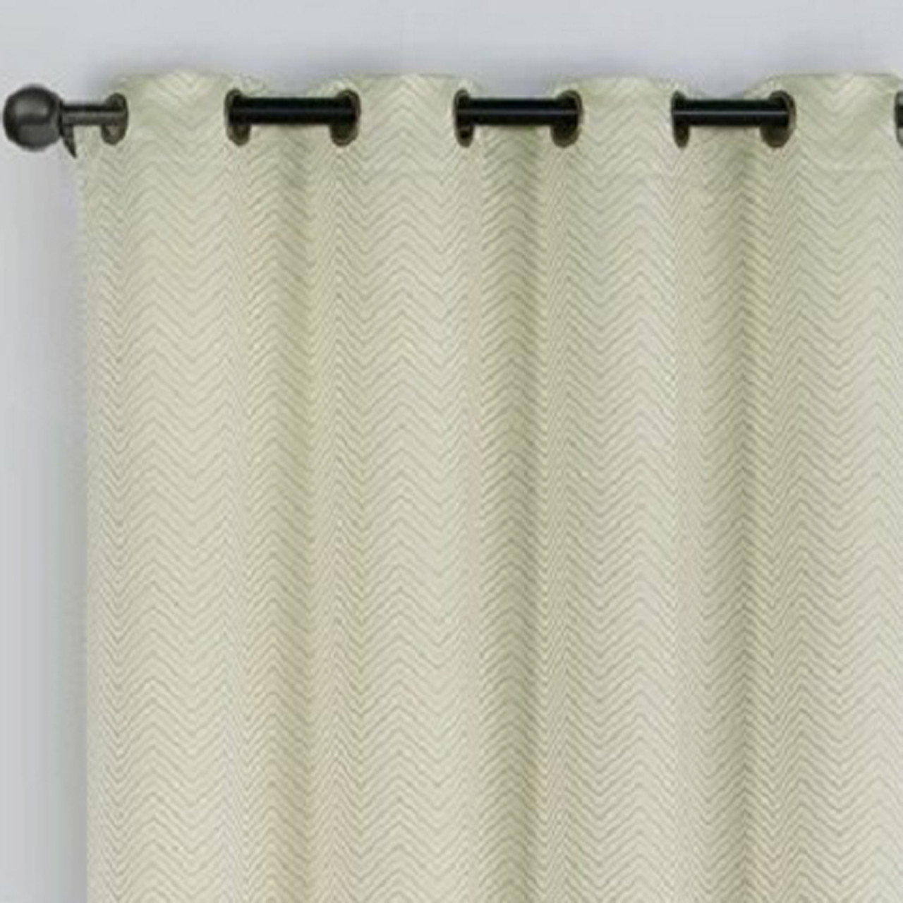 Chevron Embroidered Curtains Grommet Top Jacquard Panels Set Of 2 Closeup Sage