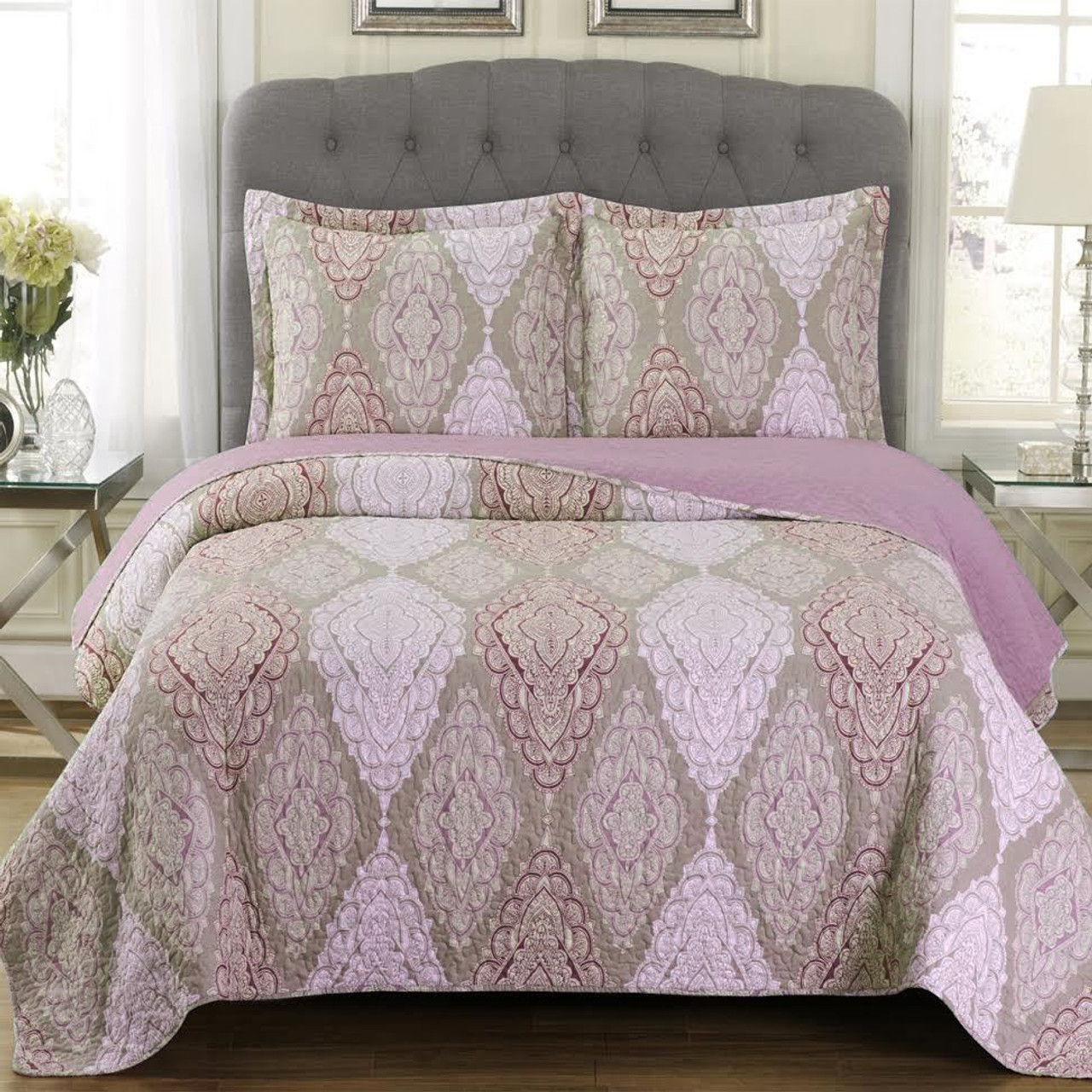 Quilted Jewel Patchwork Print Oversized Reversible Quilt