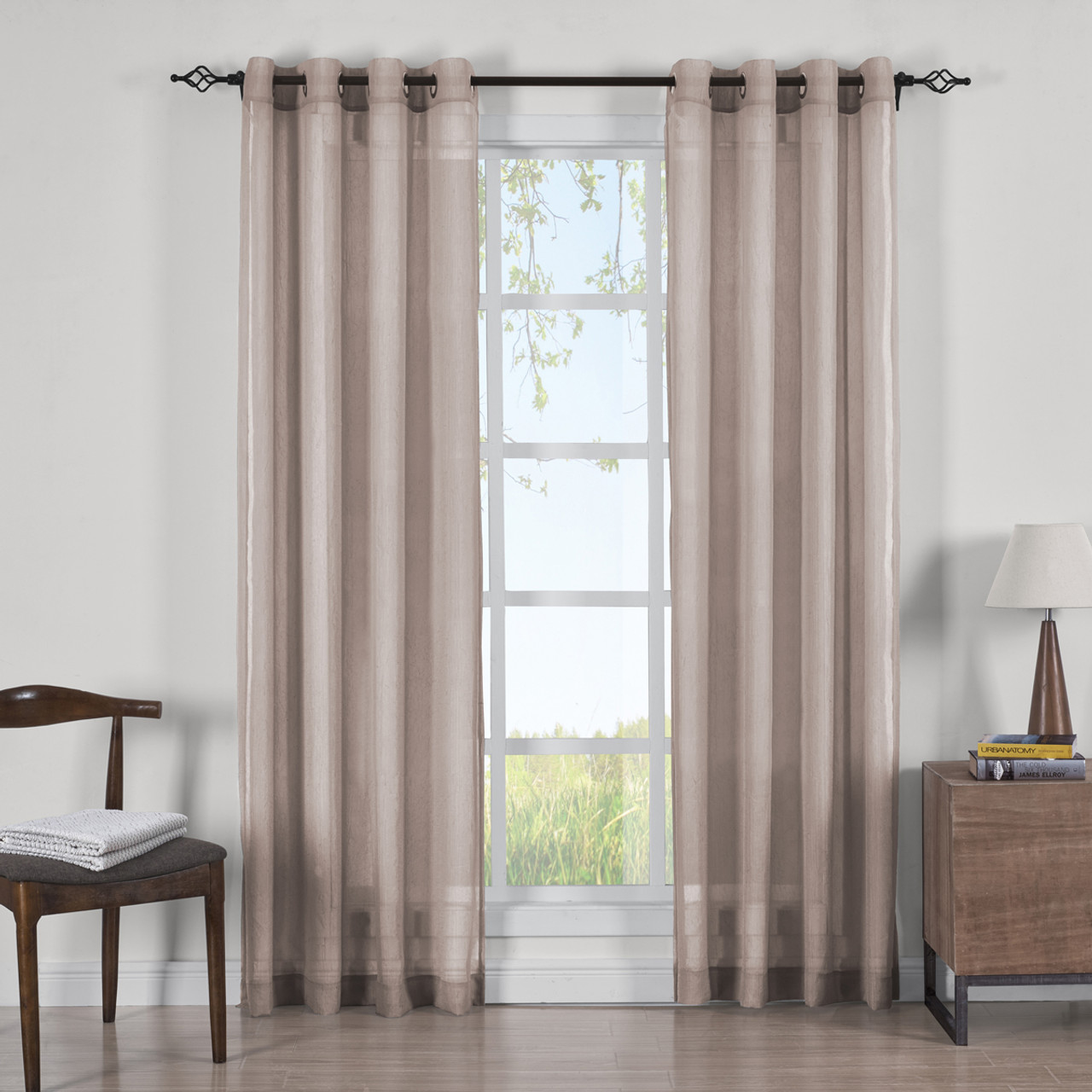 Set of 2 Andora Embroidered Grommet Top Sheer Panel Curtain Sets Pair