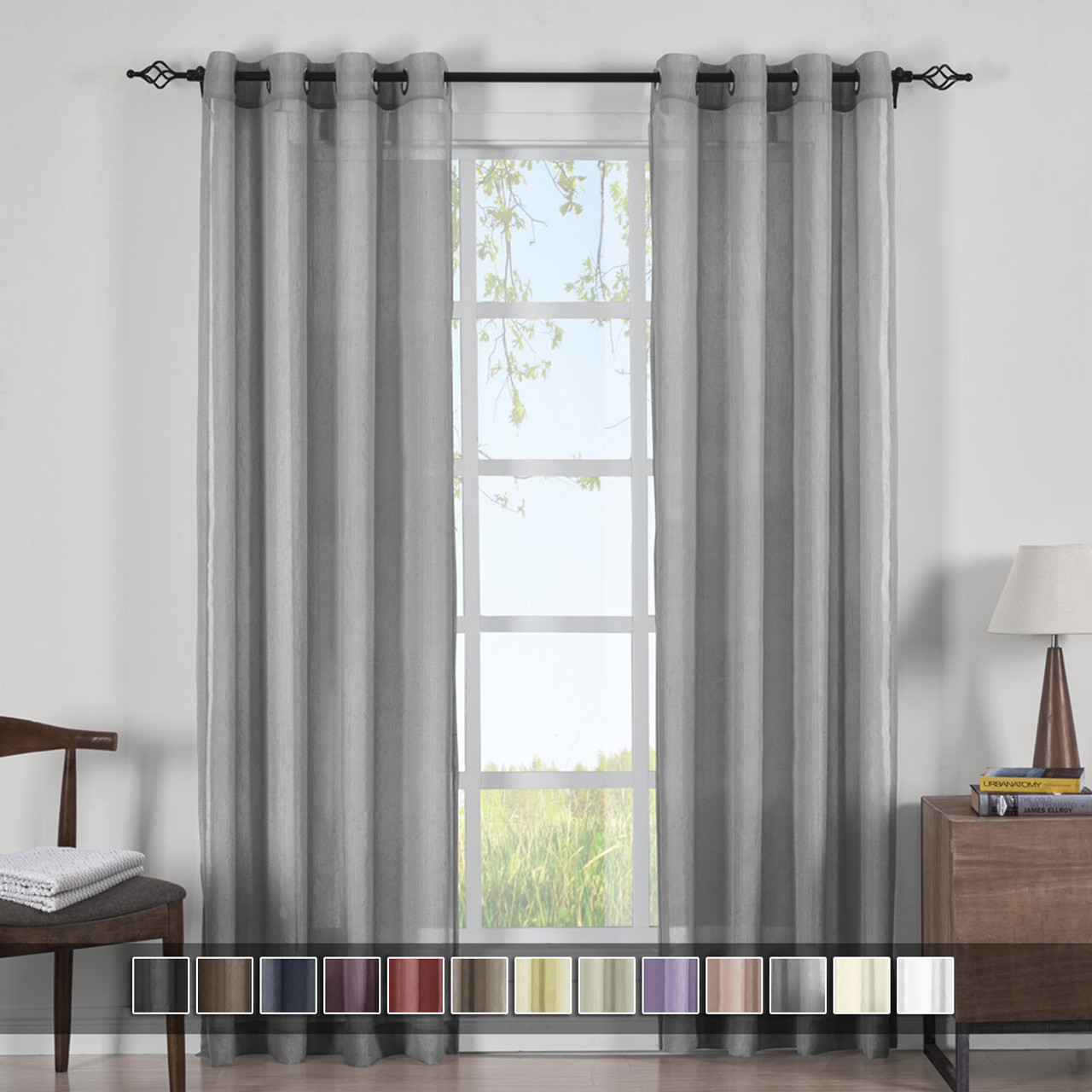 Contemporary Modern Abri Rod Pocket Crushed Sheer Single Curtain Panel