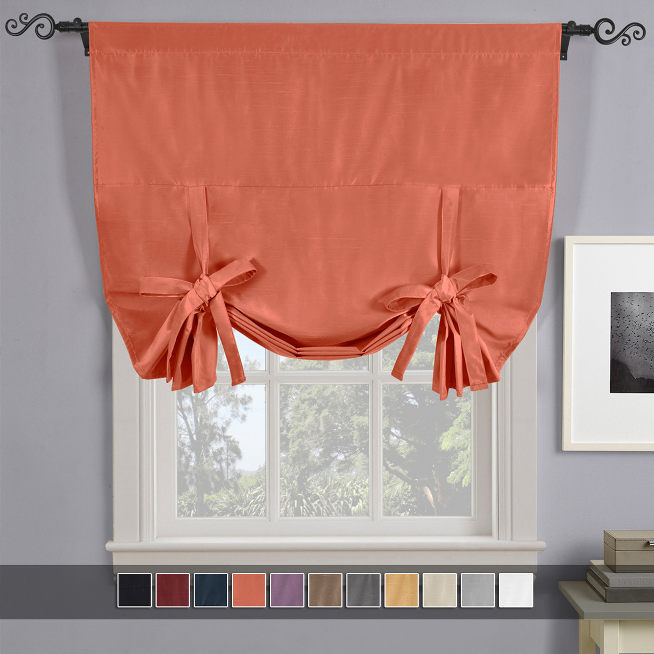 Soho Triple Pass Blackout Tie Up Curtain 42 W X 63 L,Light Chocolate Brown Hair Color With Caramel Highlights