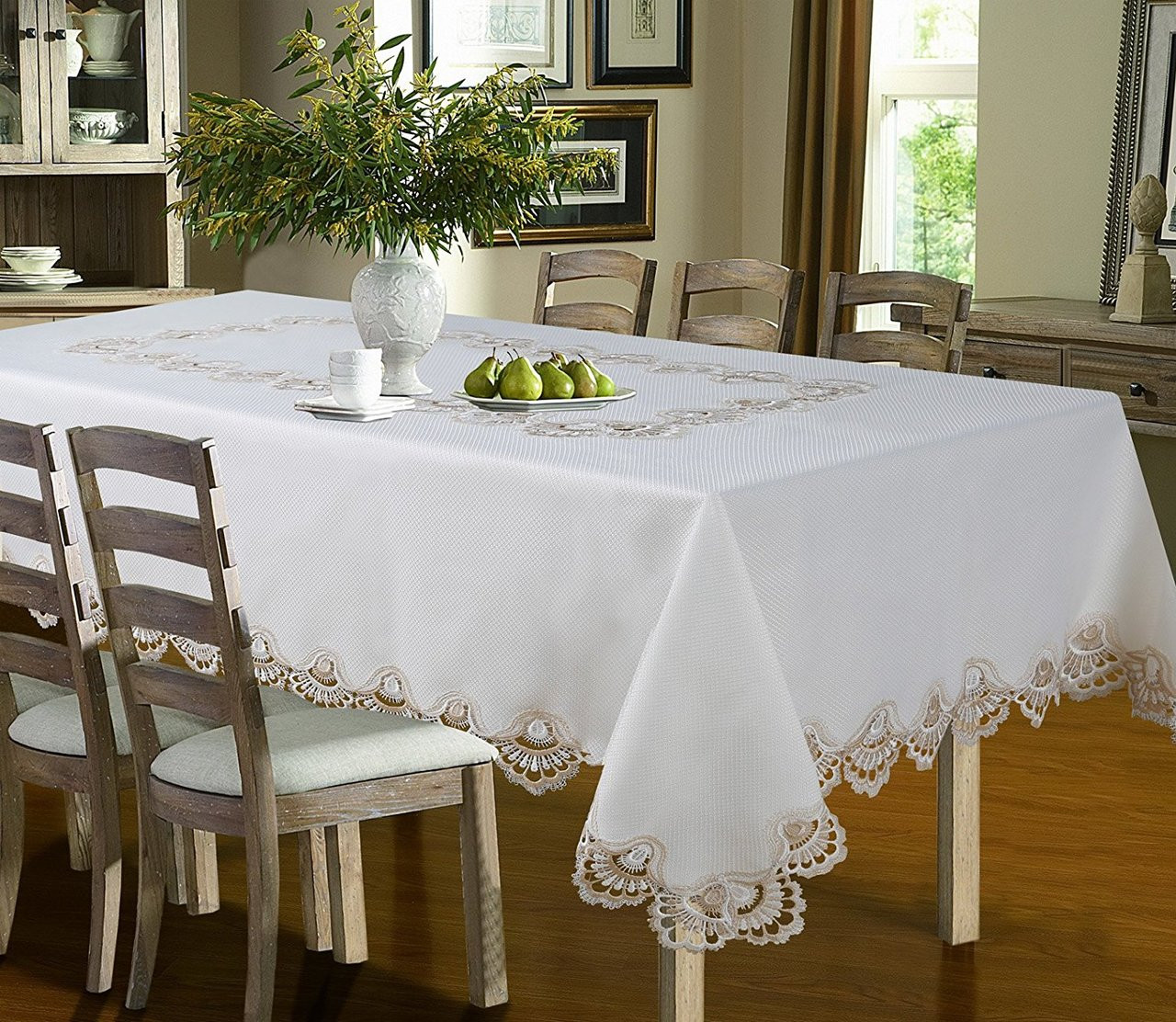 Luxury Crest Embroidered Table cloth, Top Dinner Kitchen Table Cover