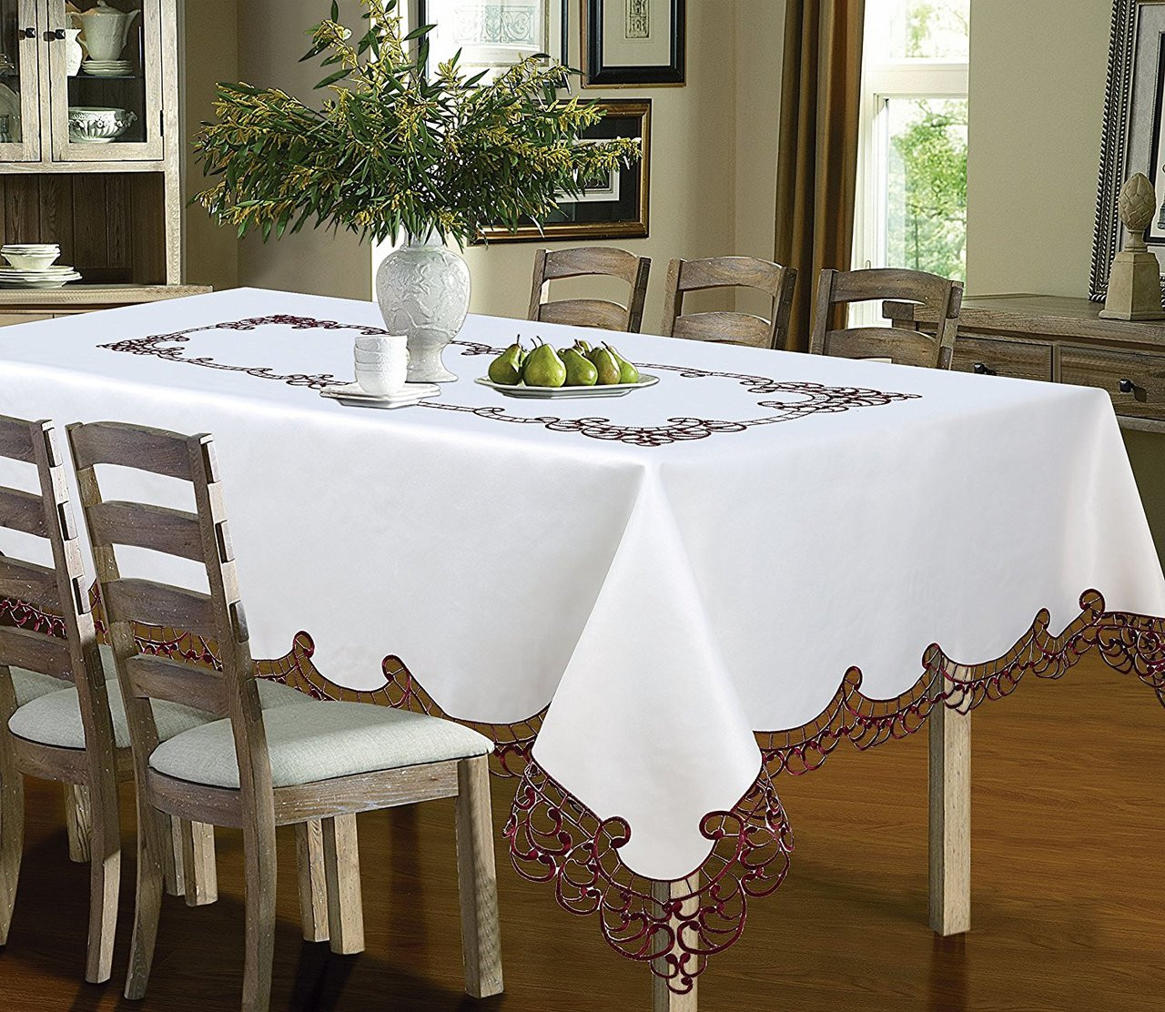 Wholesale Beddings & Holland Luxury Embroidered and Hand Cutwork Table cloth Top Dinner Kitchen Table Cover