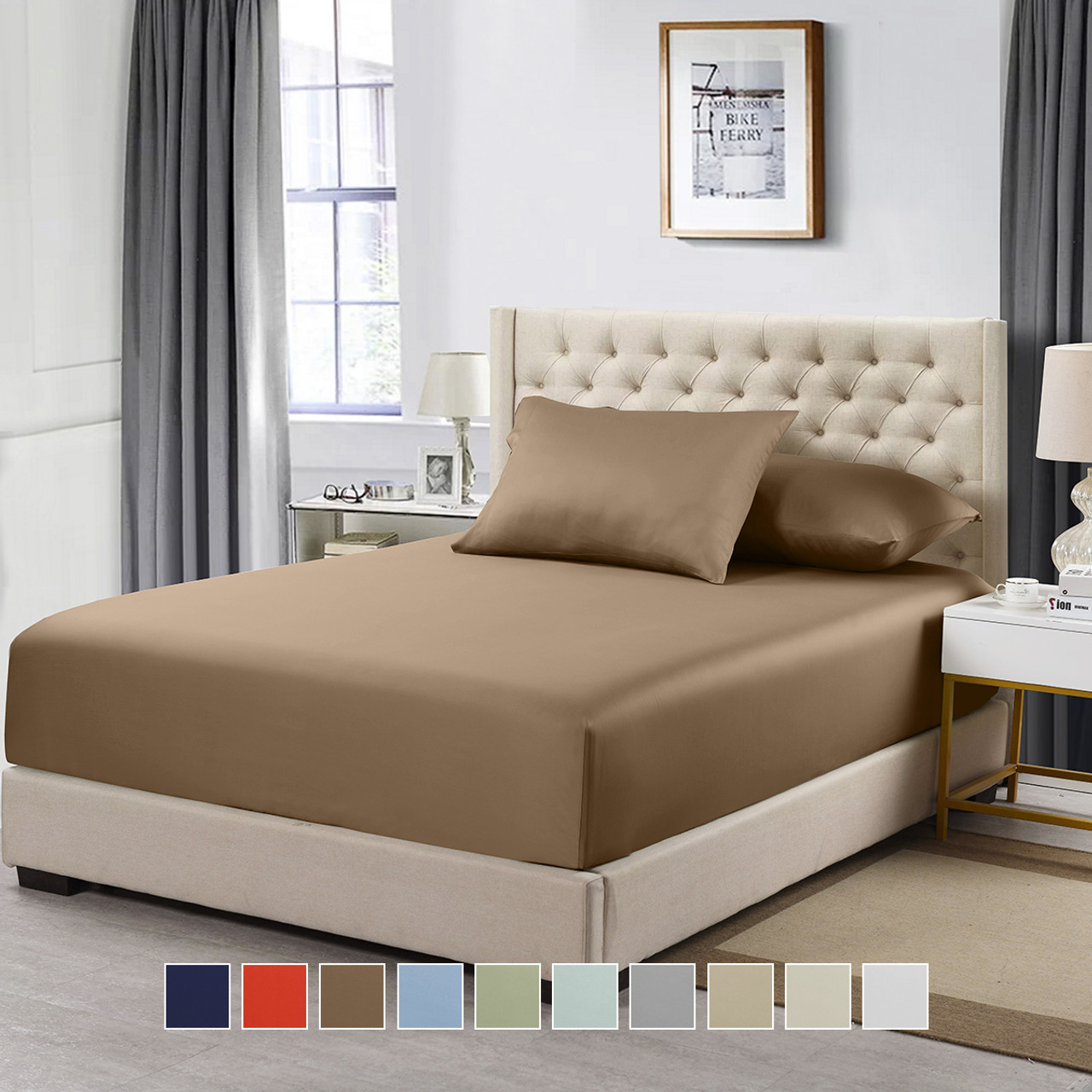 100 Cotton Fitted Solid Sheet 600 Thread Count Queen Size