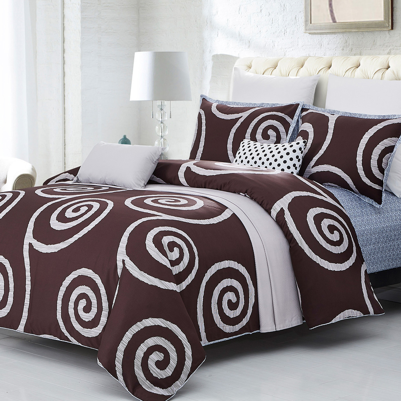 100/% Cotton Twin Queen King Size Decorative Duvet Cover with Pillow Cover-7284