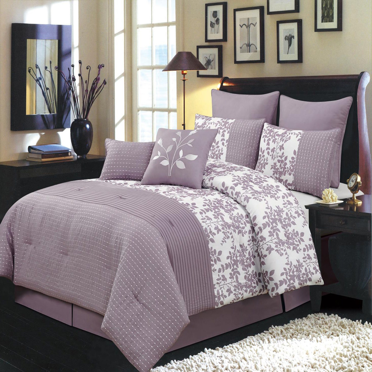 12 Piece Bliss Purple Bed In A Bag Bedding Set Wholesalebeddings Com