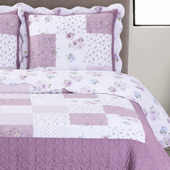 Ventrua Floral Print Easy Care Microfiber Quilt Set /Detailed Image