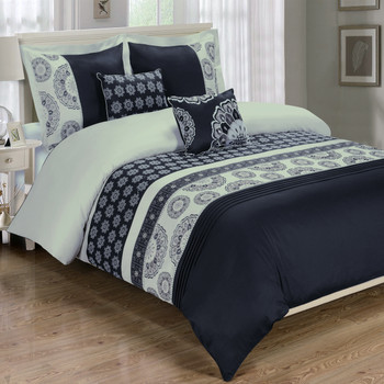 5-Piece-Black-Chelsea-100%-Cotton-Duvet-Cover-Set