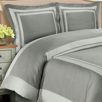 Hotel-100-Percent-Cotton-Duvet-Cover-Set-Gray / Light Gray