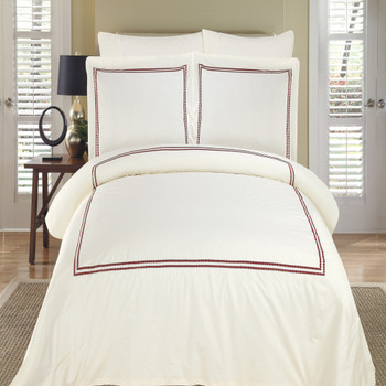 Maya-Embroidered-100%-Cotton-Duvet-Cover-Sets-SetsIvory & Burgundy
