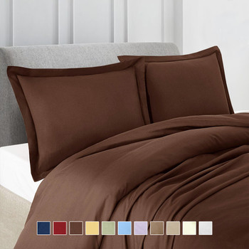 100% Microfiber Solid 3-Piece Duvet Cover Set