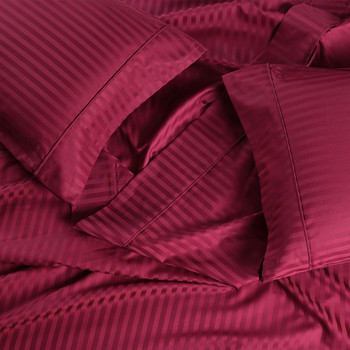 Burgundy-Pure Cotton 600 Thread Count Sheets Damask Striped Bed Sheet Set