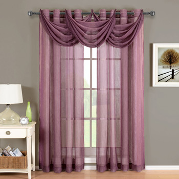 Eggplant-Abri-Grommet-Crushed-Sheer-Curtain-Panel-Single