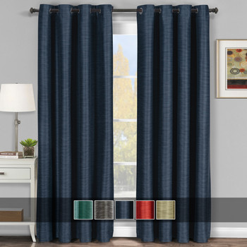 Galleria Room-Darkening Thermal Curtain Panels Tonal Stripe