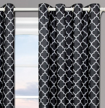 Black & Gray Curtain Close up image