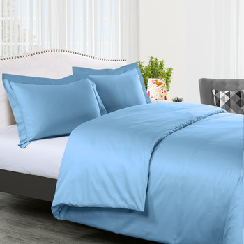 Blue- 300-Thread-count-100%-Cotton-Solid-Duvet-Cover