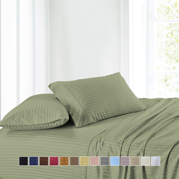 Attached-300-Thread-Count-Striped-Waterbed-Sheet-Set