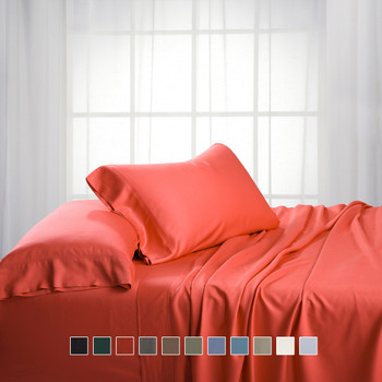 Coral-Bamboo-Sheets-Cotton-Blend-Hybrid-Bed-Sheet-Sets