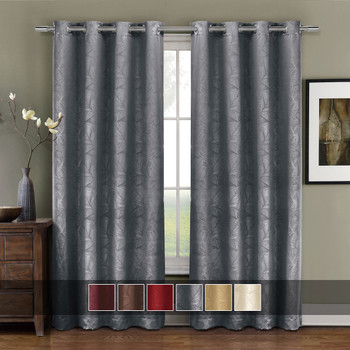 Prairie Contemporary Leafy Design Blackout Grommet Curtain Panel