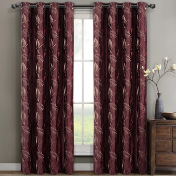 Olivia Embroidered Lined Curtain Panels (Set of 2)- Burgundy