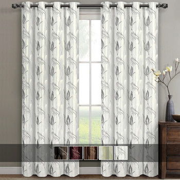 Olivia Embroidered Lined Curtain Panels (Set of 2) with Colors