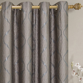 Laguna Contemporary Swirl Jacquard Curtain Panels With Top Grommets (Pair)  -closeup-Taupe