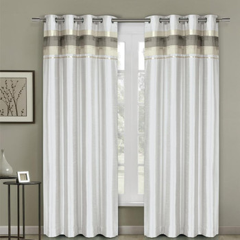 Milan Lined Blackout Curtains with Grommets Single Panel- White