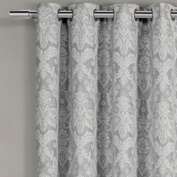 Blair Floral Curtains Jacquard Drapes Grommet Top Panels (Set of 2) -closeup-Gray