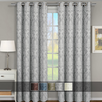 Blair Floral Curtains Jacquard Drapes Grommet Top Panels (Set of 2)