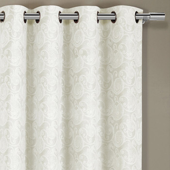 Tabitha Paisley Flower Curtains Jacquard Grommet Top Panels (Single) -closeup-Off-White