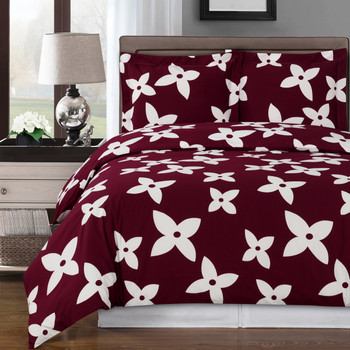 Burgundy/White-Desiree-Combed-Cotton-Duvet-Cover-Set