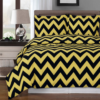 Gold/Black-Chevron-Combed-Cotton-Duvet-Cover-Set