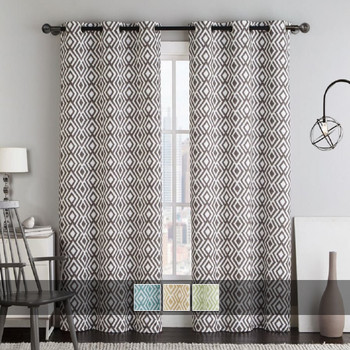 Justin Printed Blackout Window Grommet Top Curtain Panels (Pair) With Colors