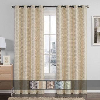 Empress Embroidered Curtains With Grommet Top Jacquard Drapes (Set of 2) With Colors