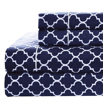 100%-Cotton-Percale-Meridian-Sheets-Set-Navy