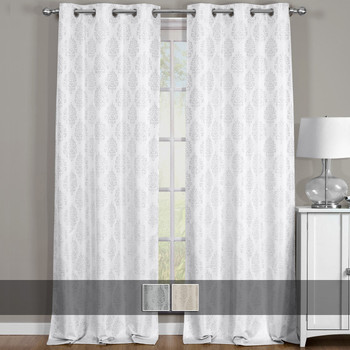 Paisley curtain panels Blackout Thermal Insulated Jacquard Grommet Top Curtains