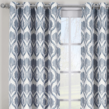 Closeup Jacqueline Jacquard Textured Grommet Curtain Panels-Gray