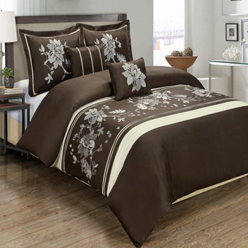 5-Piece-Myra-100%-Cotton-Chocolate-Duvet-Cover-Set