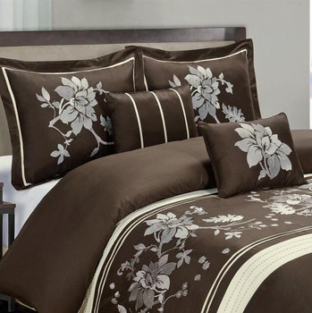 Chocolate Embroidered duvet cover set- Myra