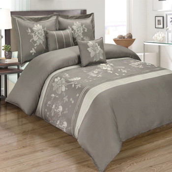 5-Piece-Myra-100%-Cotton-Gray-Duvet-Cover-Set