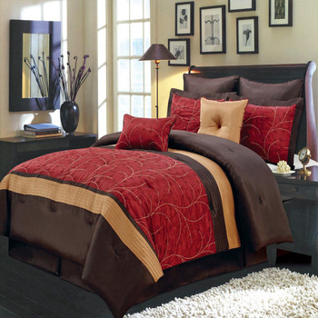 Atlantis Embroidered Nature Inspired 8-Piece Red Comforter Set