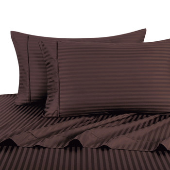 Chocolate-Pillowcase-Sets-500-Thread-Count-100%-Cotton-Striped