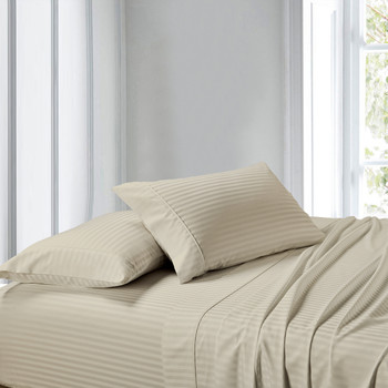 Linen-Premium Olympic Queen 100% Cotton 1000 Thread Count Sheets Striped