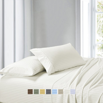 Ivory-Premium Olympic Queen 100% Cotton 1000 Thread Count Sheets Striped