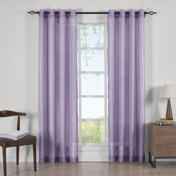 Lavender Abri Grommet Crushed Sheer Curtain Panels (Set of 2)