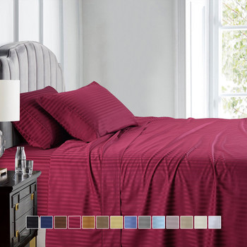 Luxury Twin Extra Long Sheets 100%Cotton 600 Thread Count Damask Striped