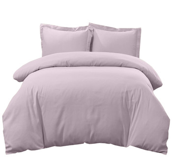 Breathable Crispy Soft 100% Cotton Percale 3-Pc Duvet Cover Lilac